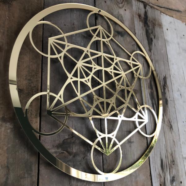 De kubus van Metatron goud 59 cm wanddecoratie