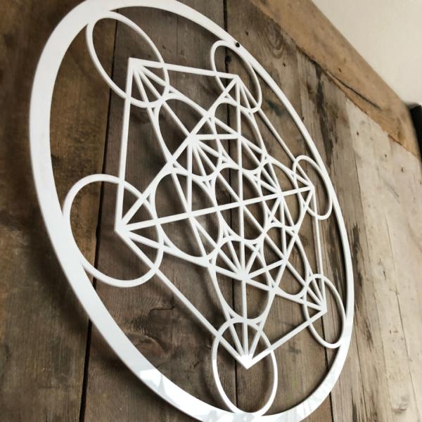 De kubus van Metatron wit acryl 59 cm wanddecoratie 2