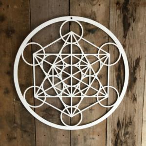 De kubus van Metatron wit acryl 59 cm wanddecoratie