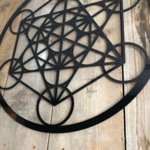 The cube of Metatron zwart 59 cm wanddecoratie