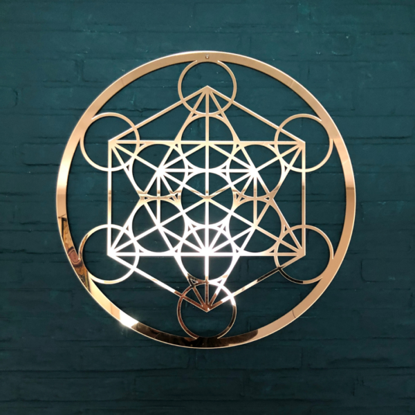 de kubus van Metatron goud 59 cm wanddecoratie 3mm